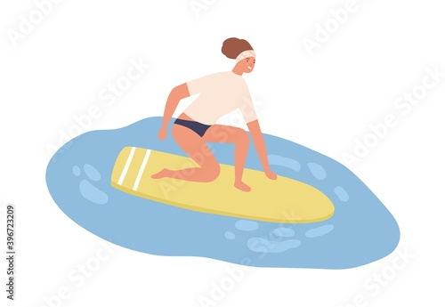 Fototapeta Young fit woman in swimwear catch wave on surfboard. Female surfer standing on board. Scene of summer vacation or recreation at the sea. Flat vector cartoon illustration isolated on white obraz