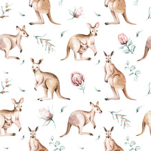 Watercolor Australian Cartoon Kangaroo Seamless Pattern. Australian Kangaroos Set Kids Illustration. Nursery Wallpaper Art