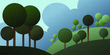 Vector Illustration Of The Landscape  With Blue Sky And Gree Trees