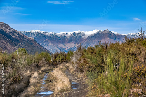 Landscape in the snow mountains in New Zealand, South Island. © sardinelly