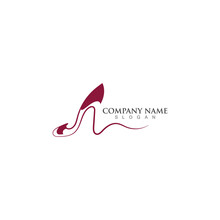 Women's Shoes Logo Design High Heel Shoe Icon Template