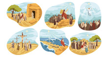 Religion, Christianity, Bible Set Concept. Biblical Religious Old And New Testament Series Of Jesus Christ Son Of God Crucifixion Ressurection. Moses Prophet Gives People Ten Commandments Illustration