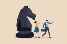 Business Strategy, Leadership And Skill To Solve Business Problem, Make Decision To Achieve Target Concept, Smart Businessman Leader Pointing The Direction With His Colleague Thinking And Knight Chess