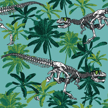 Seamless Pattern Of A Dinosaur Skeleton And Palms Background Elements