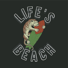 Vector Illustration Of Tiger And Surf. Graphic Design For T-shirt.