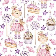 Birthday Party Pattern.Cartoon Birthday Girl,birthday Cake,candy,star.Kids Ornament