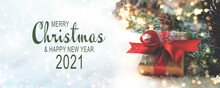 Christmas Greeting Card - Merry Christmas And Happy New Year  2021 - Gift Box With Magic Snow Landscape - Banner, Panorama - Xmas Background