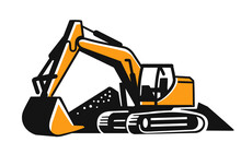 Excavator Construction Site Logo On White Background