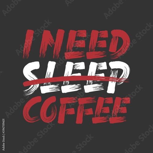 I Need Coffee. Unique and Trendy Poster Design. Canvas Print