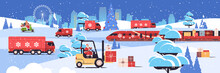 Different Transport Delivering Gifts Merry Christmas New Year Holidays Celebration Delivery Service Concept Greeting Card Cityscape Background Horizontal Vector Illustration