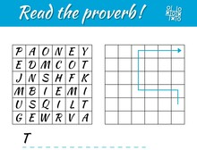 Read The Proverb. Educational Game For Kids. Write The Result