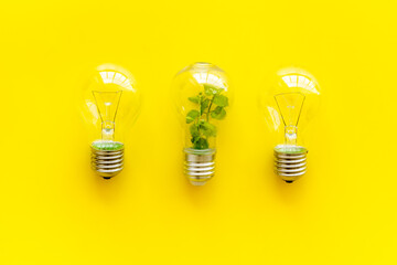Light bulb with green grass - renewable energy eco concept