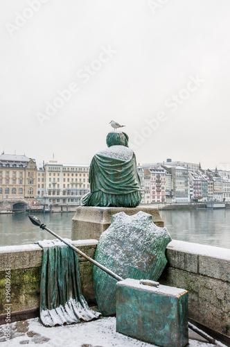 Fotografia, Obraz Basel, Helvetia, Rheinbrücke, Rhein, Rheinufer, Kleinbasel, Grossbasel, Altstadt
