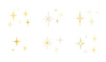 星やキラキラのアイコンのセット/イラスト/光/輝き/素材/シンプル