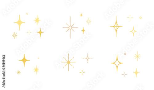 Obraz 星やキラキラのアイコンのセット/イラスト/光/輝き/素材/シンプル - fototapety do salonu