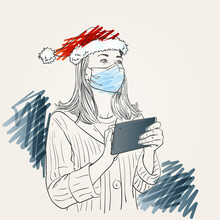 Christmas At Coronavirus Illustration. Woman Wearing Medical Face Mask And Santa Hat With Tablet Touching Screen And Looking Up Sideways, Hand Drawn Vector Sketch