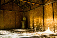 Sunbeams Inside Of A Rustic Old Wooden Shed