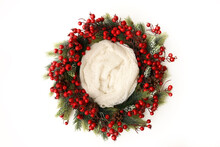 Newborn Photography Digital Background Prop. Red Christmas Holiday Wreath Isolated On White.