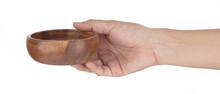 Hand Holding Wood Round Calabash Bowl Isolated On White Background.