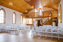 Wooden Church Interior Decorated For Wedding