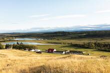 Scenic Landscape View Sunny Idyllic Farm In Vast Countryside