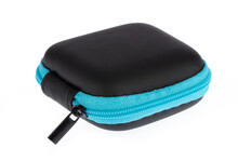 Blue Headphone Bag Earbuds, Case Box, Wallet Coin Bag  Isolated On White Background.