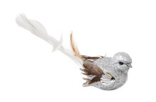 Christmas Toy Bird With Feathers Isolated On White Background Side View