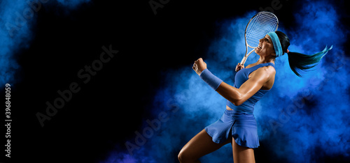 Fotografie, Tablou Woman tennis player celebrating winner. Sports banner