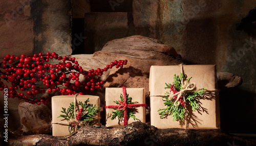 Fototapeta premium Rustic Wrapped Christmas Gifts in Still Life