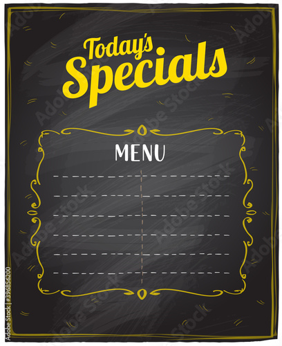Fototapeta Vintage restaurant menu board with today's special logo and place for text, chalkboard background vector graphic illustration