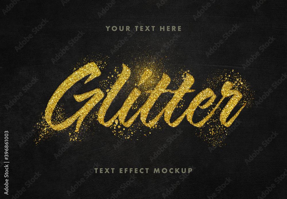 Fototapeta Glitter Gold Text Effect Mockup