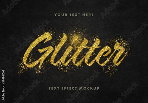 Obraz Glitter Gold Text Effect Mockup - fototapety do salonu
