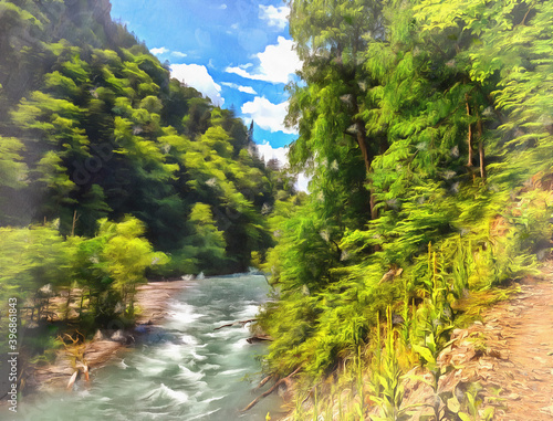 Papel de parede Beautiful scene with mountain river at summer time