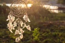 Beautiful Handmade Dream Catcher Outdoors. Space For Text
