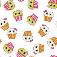 Little Cute Cupcake Seamless Pattern Background. Vector Illustration
