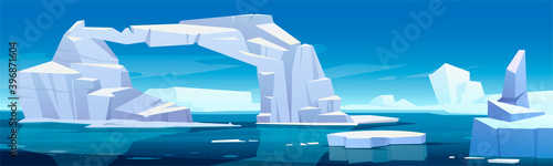 Canvas Arctic landscape with melting iceberg and glaciers floating in sea