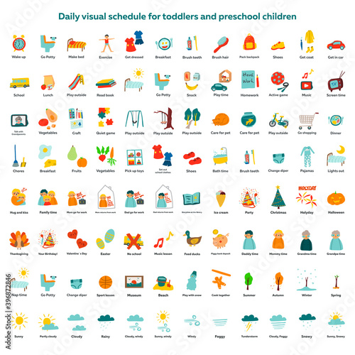Daily visual schedule for toddlers and preschool children. Childish vector illustration in cartoon style