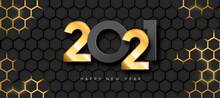 Happy New Year 2021 Gold 3d Futuristic Luxury Card