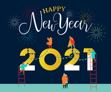 New Year 2021 Card Happy People Friends Together