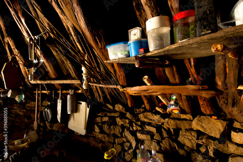Photo interior of typical refuge of the shepherd, called pinnetto in Ogliastra, Sardin