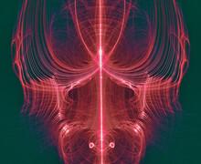 Futuristic Red 3D Sci Fi Alien Scull Close Up. Vibrant Detailed Bright Object.