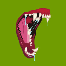 Opened Animal Mouth With Teeth.  The Jaws Of A Dog Or Wolf With Saliva Open In Rage. Aggressive Mood