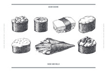 Big Set Of Hand-drawn Sushi And Rolls On Isolated Background. Sushi With Colmar, Baked Sauce, Vegetables, Temaki. Retro Picture For Menu Of Sushi Bars, Restaurants. Illustration In An Engraving Style.