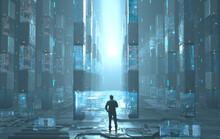 Man Standing Amount Futuristic...