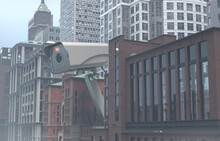 Giant Surveillance Camera On Building Rooftop