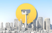 Giant Surveillance Camera Above City During Day