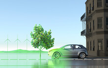 Car Driving To Green Ecofriendly Future From Grey City