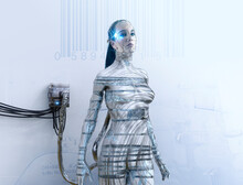 Robotic Woman Plugged Into Electrical Outlet