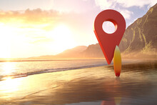 Red Map Pin Icon On Beach In Hawaii