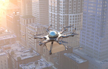 Drone Flying Above Cityscape